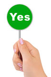 Yes sign in hand Stock Photos