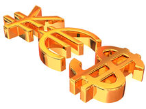 YES from signs yen, dollar and euro Royalty Free Stock Image