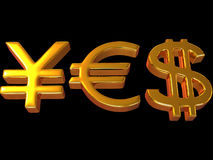 YES from signs yen, dollar and euro. Stock Photo