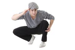 Yes, sir!  by stylish young rowdy. Yes sir! by look naughty handsome young man in stylish striped dress and cap Stock Photos