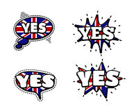 Yes Speech Bubbles. Fashion Patch Badge British Expressions, Yes Speech Bubbles. Set of Yes Stickers, Pins in Cartoon Comic Style vector illustration