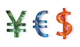 YES spelled with currecy symbols - money concept Stock Photos