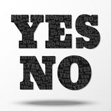 YES symbol consisting of small NO and symbol NO consisting of little YES Stock Images