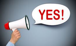 Yes !. Text 'yes !' in uppercase red letters in white speech bubble with megaphone held in female hand on a gray background stock image