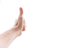 Yes Thumbs Up Caucasian White Hand Male Fingers Balled Fist Gesture Isolated White Background stock photo
