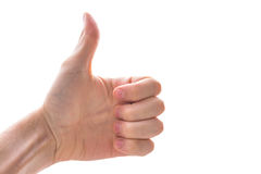 Yes Thumbs Up Caucasian White Hand Male Fingers Balled Fist Gest Royalty Free Stock Image