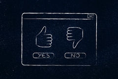 Yes thumbs up or No thumbs down, pop-up illustration Royalty Free Stock Images