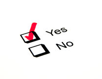 Yes Tick Box Royalty Free Stock Photography