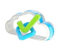 Yes tick inside cloud technology icon Stock Image