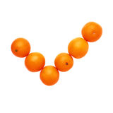 Yes tick mark made of multiple oranges isolated Royalty Free Stock Images