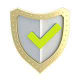 Yes tick mark over a shield surface Royalty Free Stock Images