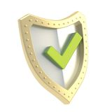 Yes tick mark over a shield surface Stock Image