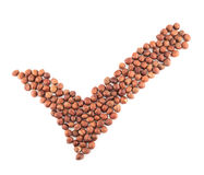 Yes tick shape made of hazelnuts isolated Royalty Free Stock Photos