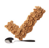 Yes tick sign made of cereal flakes Stock Photo