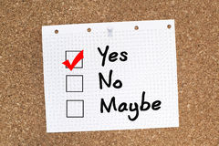 YES. Ticked on  NO MAYBE choices Stock Image