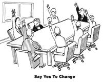 Yes to Change. Black and white business cartoon about agreeing and disagreeing to change royalty free illustration