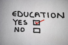 Yes to education. Choosing to say yes to education Stock Photography