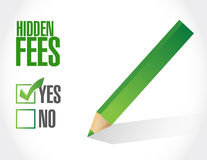 Yes to hidden fees sign concept Stock Photos