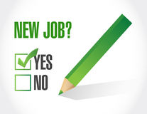 Yes to new job check mark. illustration design. Over a white background Stock Photography