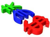 YES von den Zeichen Yen, Dollar und Euro Lizenzfreies Stockfoto