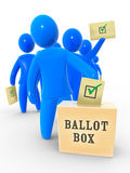 Yes vote. Voters inserts the envelope into ballot box. Concept of election, voting and polling Stock Photo