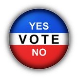 Yes Vote No. Red white and blue vote button Yes Vote No Stock Illustration