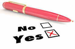 Yes Vs No Answer Choice Pen Check Mark Box Royalty Free Stock Photos