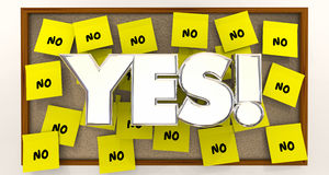 Yes Vs No Overcome Objections Sticky Notes royalty free illustration
