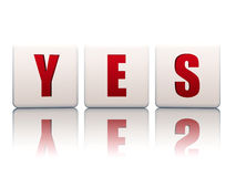 Yes in white blocks. Yes text in 3d white blocks with red letters with reflection Stock Image