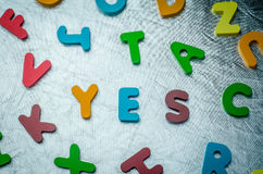 YES word with colourful alphabet blocks made of wooden. Business Royalty Free Stock Image