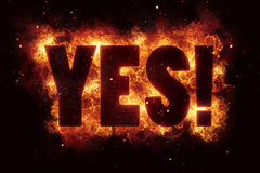 Yes word symbol fire burn flame text is explode. Explosion Stock Photography