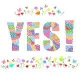 Yes word. Vector graphic illustration design art Stock Photography