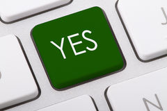 YES. Word written on computer keyboard Royalty Free Stock Image