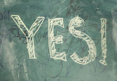 Yes-written with chalk Stock Photo
