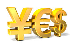 Yes - Yen, Euro, Dollar gold icons Royalty Free Stock Image
