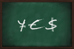 YES - Yen, Euro and Dollar signs Royalty Free Stock Photos