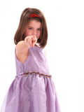 Yes you. Little girl pointing at the camera Stock Image