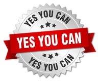 yes you can 3d silver badge Royalty Free Stock Photo
