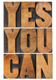 Yes you can motivation phrase Royalty Free Stock Photography