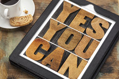 Yes you can - motivational text Royalty Free Stock Image
