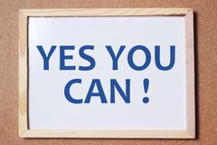 Yes You Can, Motivational Words Quotes Concept. Yes You Can, business motivational inspirational quotes, words typography lettering concept success encouragement stock image