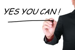 Yes You Can, Motivational Words Quotes Concept stock image