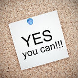 Yes You Can Note on Cork Board Royalty Free Stock Image