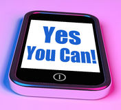Yes You Can On Phone Shows Motivate Stock Photo