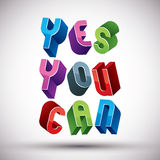 Yes You Can phrase. Royalty Free Stock Image