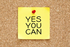 Yes You Can Sticky Note Royalty Free Stock Image