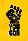 Yes You Can. Strong Inspiring Creative Motivation Slogan. Vector Typography Banner Design Concept On Grunge Background Royalty Free Stock Photos