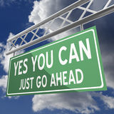 Yes you can words on road sign green Royalty Free Stock Images