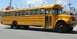 Yeshiva School bus at Coney Island in Brooklyn Stock Images