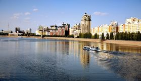Yesil river in Astana Stock Photos